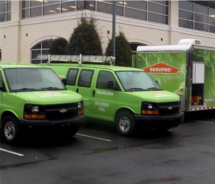 SERVPRO vehicles parked